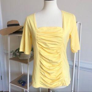 Soft Surroundings yellow gathered body neck top